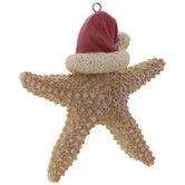 Starfish With Santa Hat Ornament