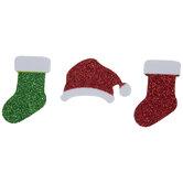 Glitter Santa Hat & Stockings Foam Stickers