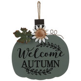 Welcome Autumn Pumpkin Wood Wall Decor