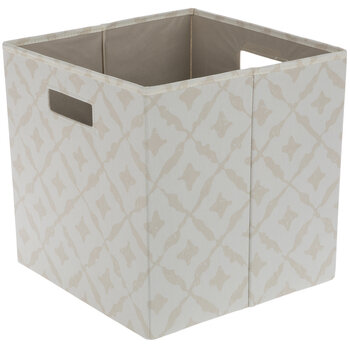 Beige & White Diamond Collapsible Storage Container