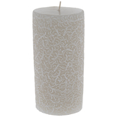Beige & White Scroll Pillar Candle