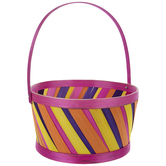 Pink Striped Bamboo Easter Basket