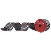 """Red, White & Black Christmas Phrases Wired Edge Ribbon - 2 1/2"""""""