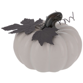 White Pumpkin With Metal Leaves