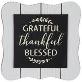 Grateful Thankful Blessed Wood Decor