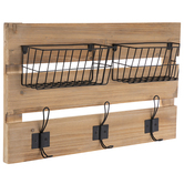 Metal Wire Baskets Wall Decor With Wall Hooks