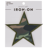 Green Camo Star Iron-On Appliques
