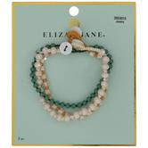 Cream & Green Faceted Glass Beaded Bracelets