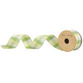 "Yellow & Green Plaid Wired Edge Ribbon - 1 1/2"""