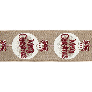 """Merry Christmas Ornament Wired Edge Ribbon - 2 1/2"""""""