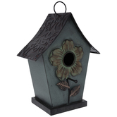 Blue Metal Birdhouse With Flower Opening