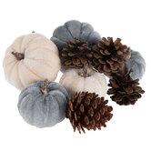 Blue Velvet Pumpkins & Pinecones