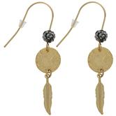 Rhinestone & Metal Feather Earrings