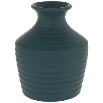 Matte Teal Ridged Vase