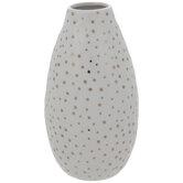 White & Gold Polka Dot Round Vase