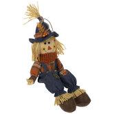 Orange Plaid Scarecrow Shelf Sitter