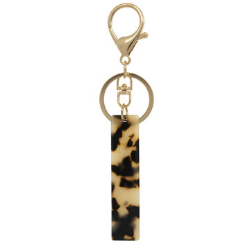 Leopard Print Letter Keychain - I