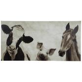 Sepia Farm Animals Canvas Wall Decor