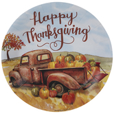 Thanksgiving Pumpkin Truck Paper Plates - Large