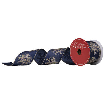 "Navy & Gold Snowflake Wired Edge Sheer Ribbon - 2 1/2"""