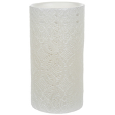 Pearl White Lace LED Pillar Candle