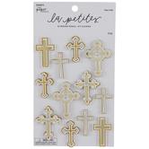 White & Gold Foil Cross 3D Stickers