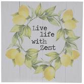 Live Life With Zest Lemon Wreath Wood Wall Decor