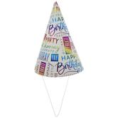 Rainbow Foil Happy Birthday Party Hats