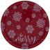 Red & White Snowflake Round Metal Tray