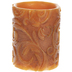 Orange Embossed Scroll LED Pillar Candle