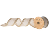 Canvas & Gold Weave Wired Edge Ribbon - 2 1/2""