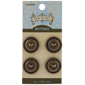 Gold Stitched Round Buttons - 20mm