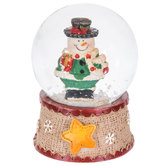 Snowman With Gift Snow Globe