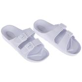 White Buckle Foam Sandals - Size 9