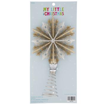 Silver & Champagne Glitter Snowflake Mini Tree Topper