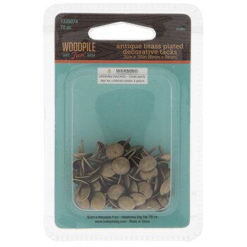 "Antique Brass Plated Decorative Tacks - 5/16"" x 3/8"""