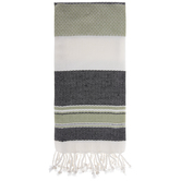 Green, Black & White Striped Kitchen Towel