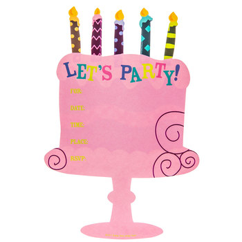 Cake Let's Party Invitations