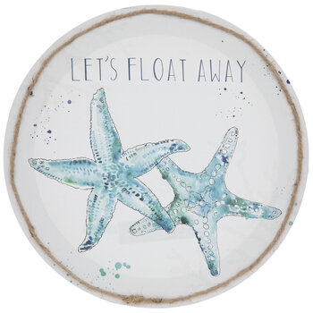 Let's Float Away Starfish Round Canvas Wall Decor