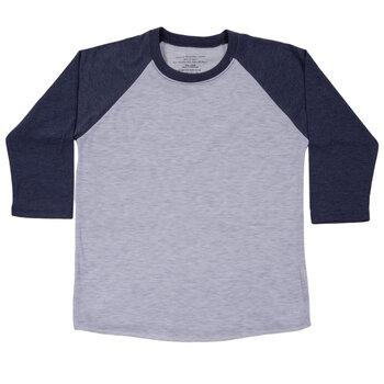Heather Gray & Navy Youth Baseball Shirt - Large