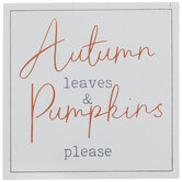 Autumn Leaves & Pumpkins Please Wood Decor