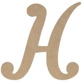 "Uppercase Script Wood Letter H - 6"""