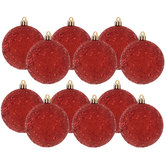 Red Glitter Ball Ornaments