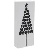 White & Black Polka Dot Tree Wood Decor