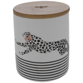 Cheetah With Ribbon Canister