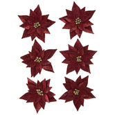 Red Glitter Poinsettia Stickers