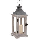 Whitewash Wood Lantern Candle Holder