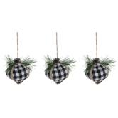 Black & White Buffalo Check Onion Ornaments