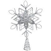 Silver Glitter Snowflake Tree Topper