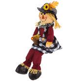 Scarecrow Holding Basket Plush Sitter